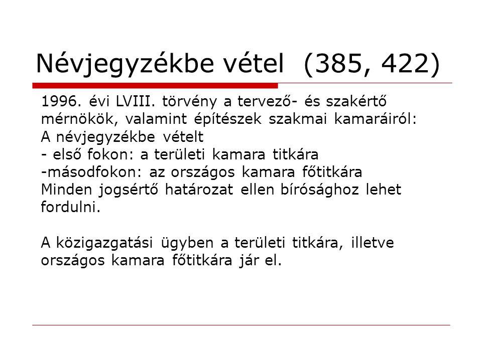 Névjegyzékbe vétel (385, 422) 1996.évi LVIII.
