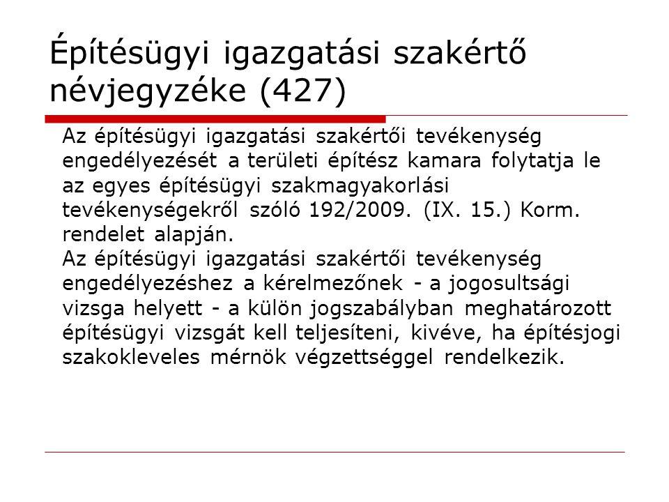 Építésügyi igazgatási szakértő névjegyzéke (427) Az építésügyi igazgatási szakértői tevékenység engedélyezését a területi építész kamara folytatja le