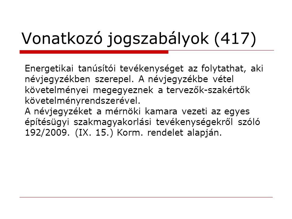 Vonatkozó jogszabályok (417) Energetikai tanúsítói tevékenységet az folytathat, aki névjegyzékben szerepel. A névjegyzékbe vétel követelményei megegye