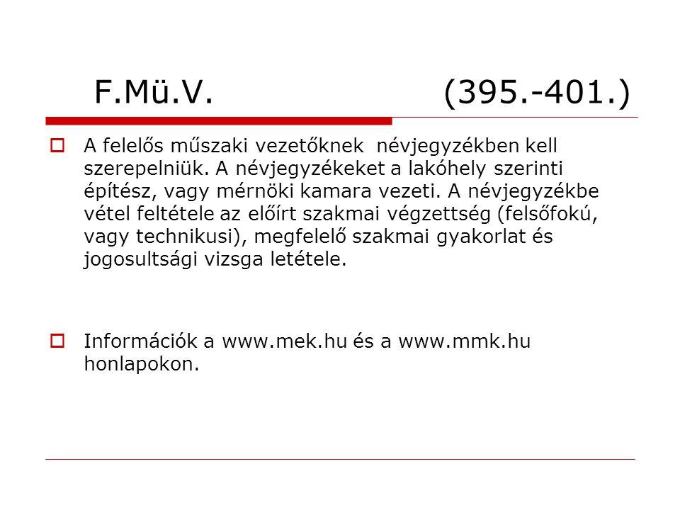 F.Mü.V. (395.-401.)  A felelős műszaki vezetőknek névjegyzékben kell szerepelniük. A névjegyzékeket a lakóhely szerinti építész, vagy mérnöki kamara