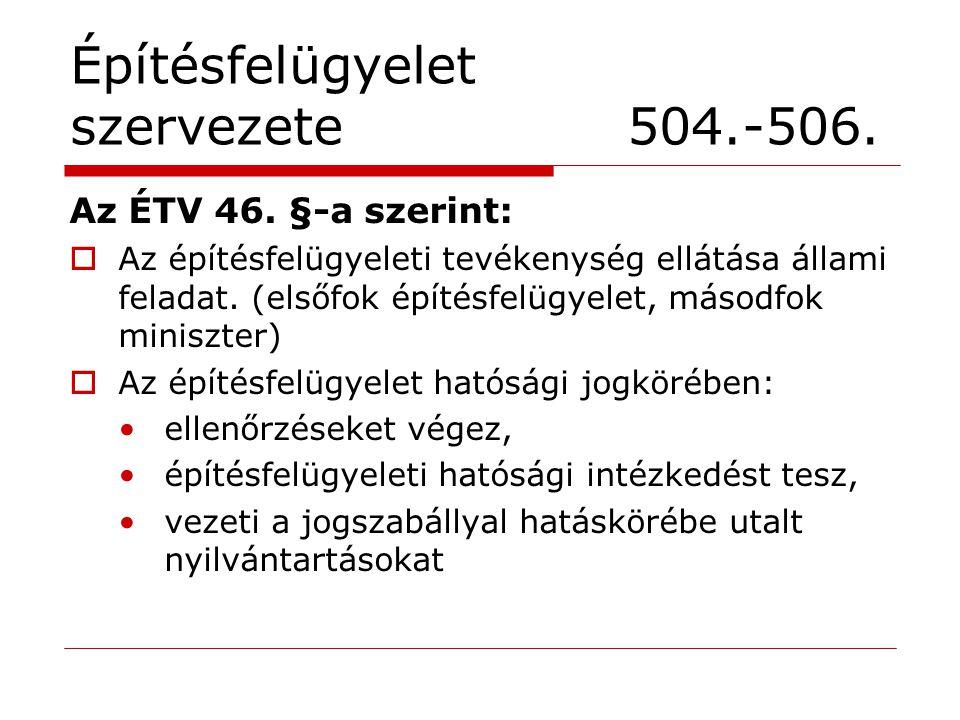 Építésfelügyelet szervezete 504.-506.Az ÉTV 46.