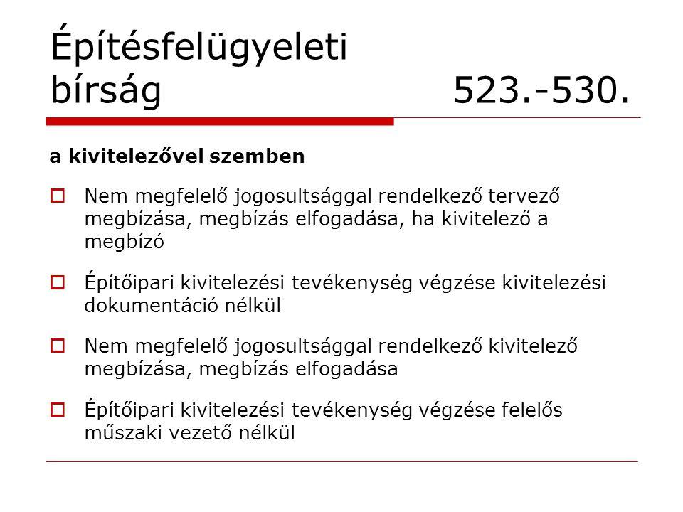 Építésfelügyeleti bírság 523.-530. a kivitelezővel szemben  Nem megfelelő jogosultsággal rendelkező tervező megbízása, megbízás elfogadása, ha kivite