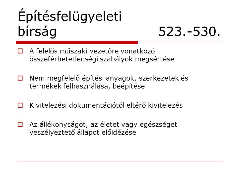 Építésfelügyeleti bírság 523.-530.  A felelős műszaki vezetőre vonatkozó összeférhetetlenségi szabályok megsértése  Nem megfelelő építési anyagok, s