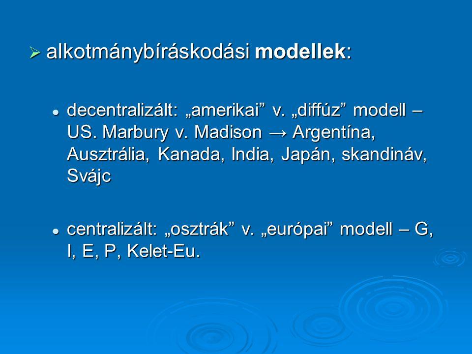 """ alkotmánybíráskodási modellek:  decentralizált: """"amerikai v."""