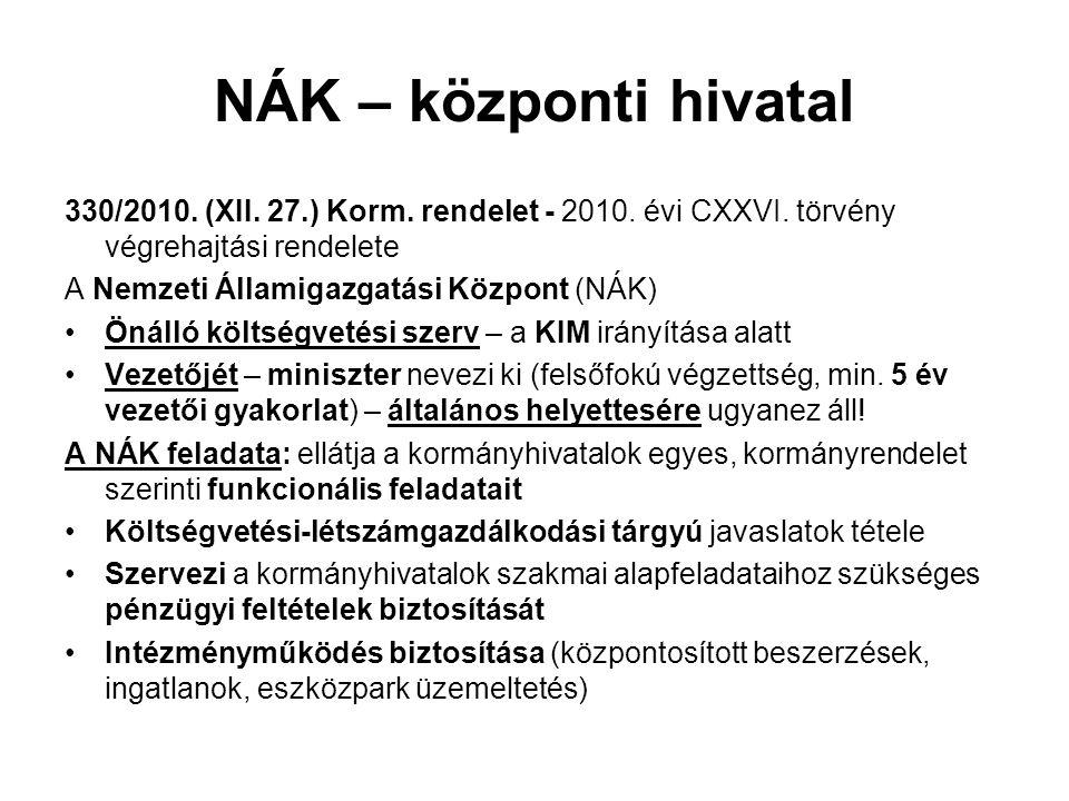 NÁK – központi hivatal 330/2010.(XII. 27.) Korm. rendelet - 2010.
