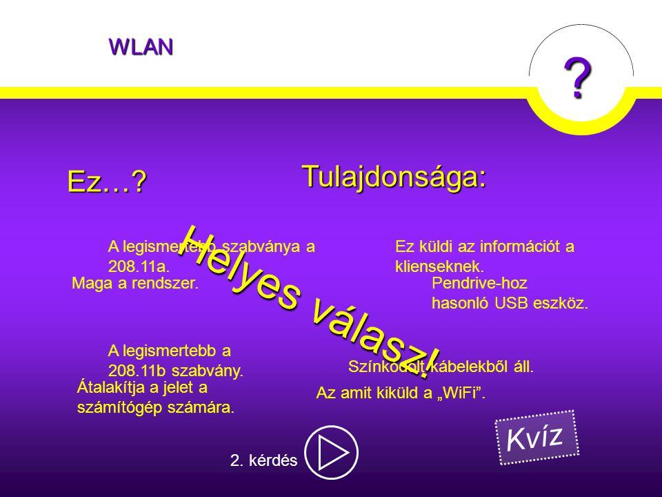 """WLAN ? Az amit kiküld a """"WiFi"""". Maga a rendszer. Átalakítja a jelet a számítógép számára.Ez…? Ez küldi az információt a klienseknek. Helyes válasz! Tu"""