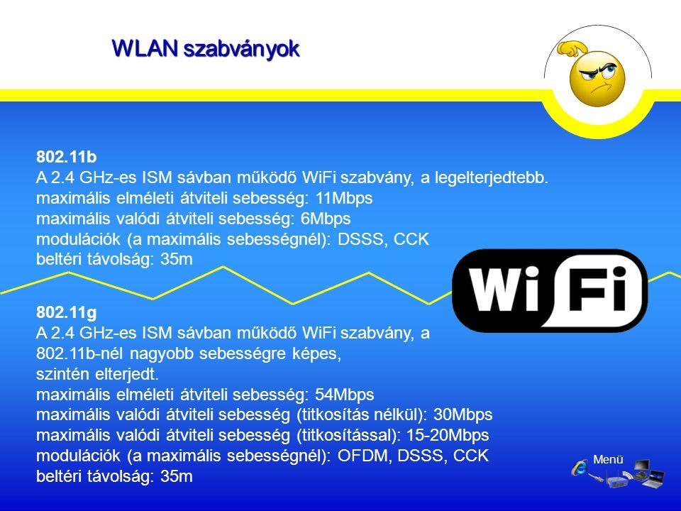 Menü 802.11b A 2.4 GHz-es ISM sávban működő WiFi szabvány, a legelterjedtebb. maximális elméleti átviteli sebesség: 11Mbps maximális valódi átviteli s