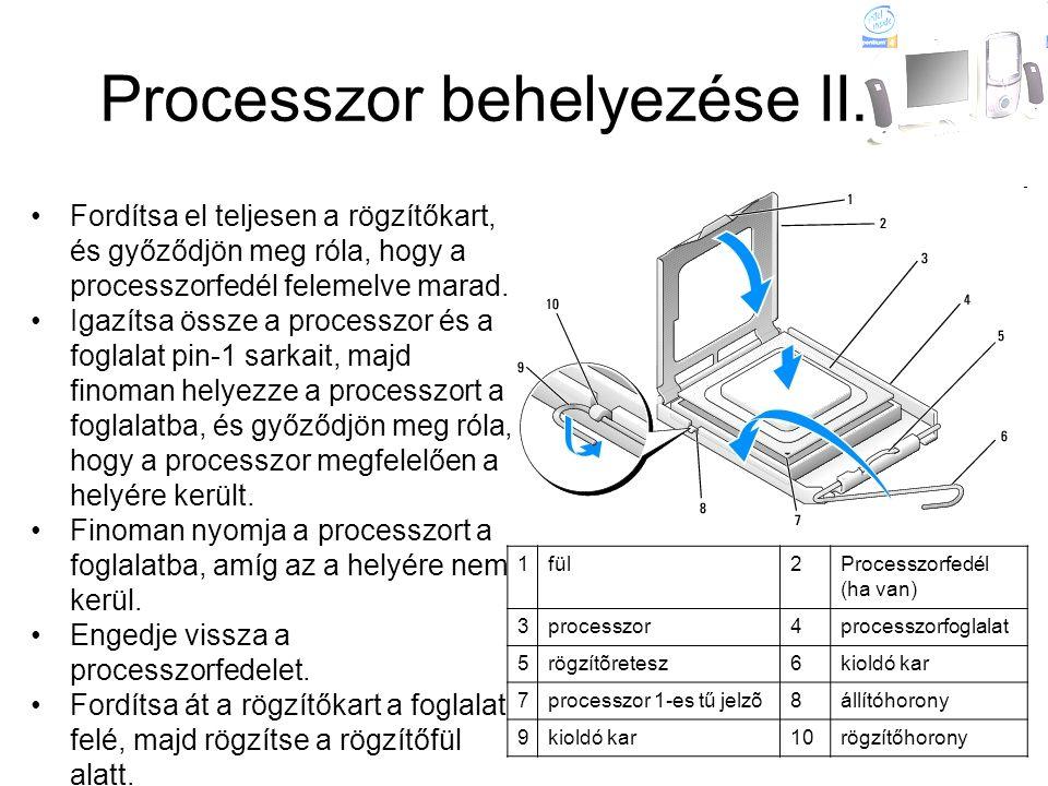 Processzor behelyezése II. 1fül2Processzorfedél (ha van) 3processzor4processzorfoglalat 5rögzítõretesz6kioldó kar 7processzor 1-es tű jelzõ8állítóhoro