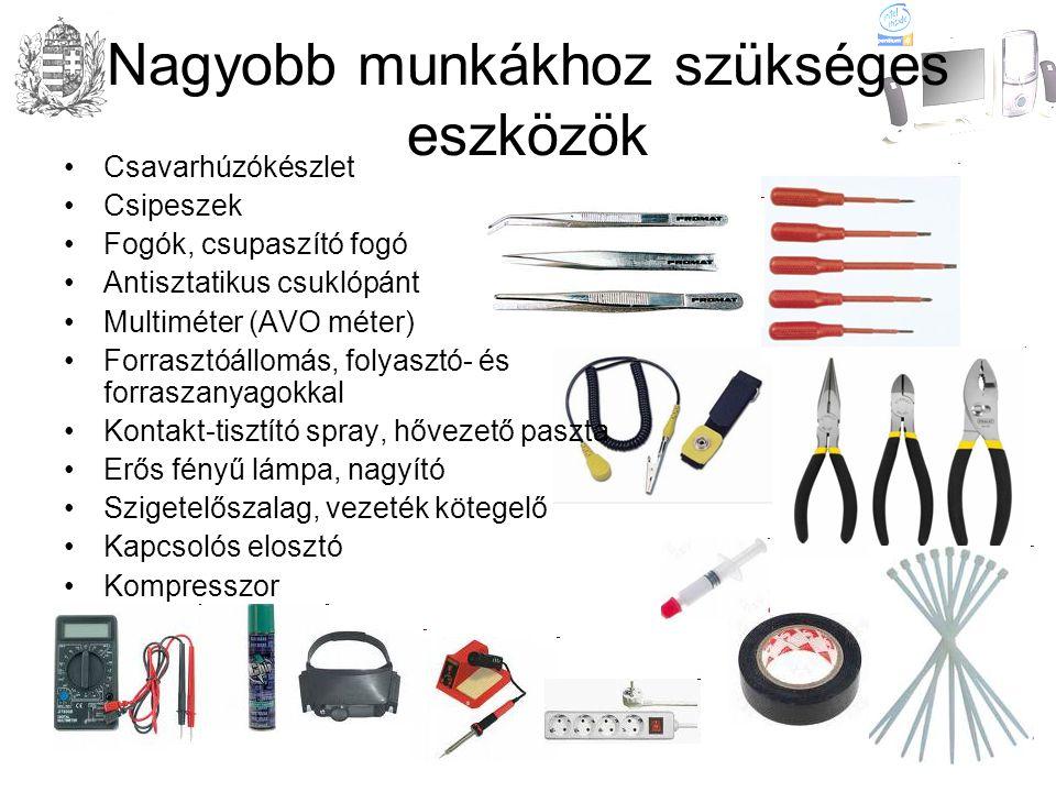 Nagyobb munkákhoz szükséges eszközök •Csavarhúzókészlet •Csipeszek •Fogók, csupaszító fogó •Antisztatikus csuklópánt •Multiméter (AVO méter) •Forrasztóállomás, folyasztó- és forraszanyagokkal •Kontakt-tisztító spray, hővezető paszta •Erős fényű lámpa, nagyító •Szigetelőszalag, vezeték kötegelő •Kapcsolós elosztó •Kompresszor