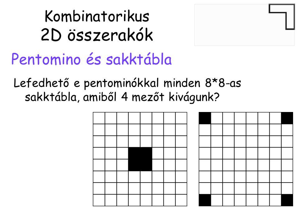 Kombinatorikus 2D összerakók Pentomino és sakktábla Lefedhető e pentominókkal minden 8*8-as sakktábla, amiből 4 mezőt kivágunk?