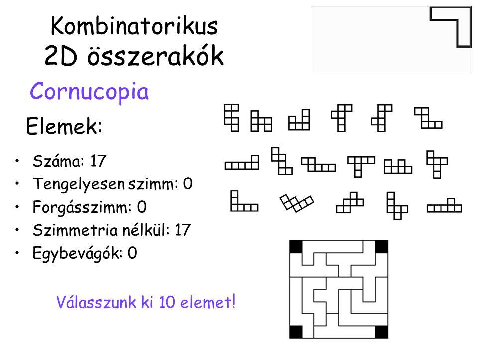 Kombinatorikus 2D összerakók Cornucopia •Száma: 17 •Tengelyesen szimm: 0 •Forgásszimm: 0 •Szimmetria nélkül: 17 •Egybevágók: 0 Elemek: Válasszunk ki 10 elemet !