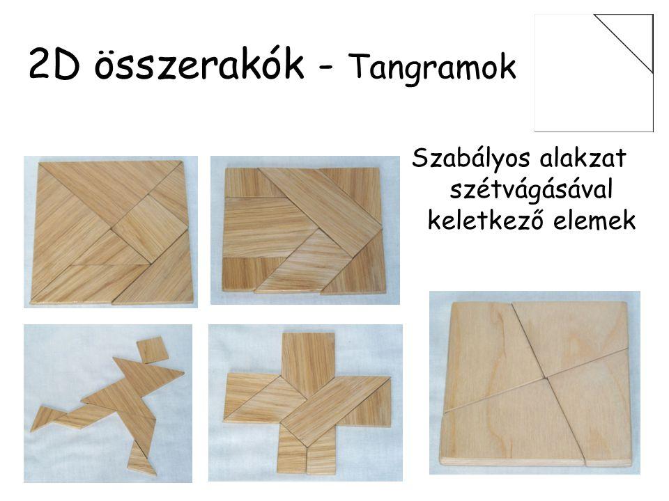 2D összerakók - Tangramok Klasszikus tangram Elemek: –Száma: 7 –Tengelyesen szimm.: 6 –Forgásszimm.: 2 –Szimmetria nélkül: 0 –Egybevágók: 2-2