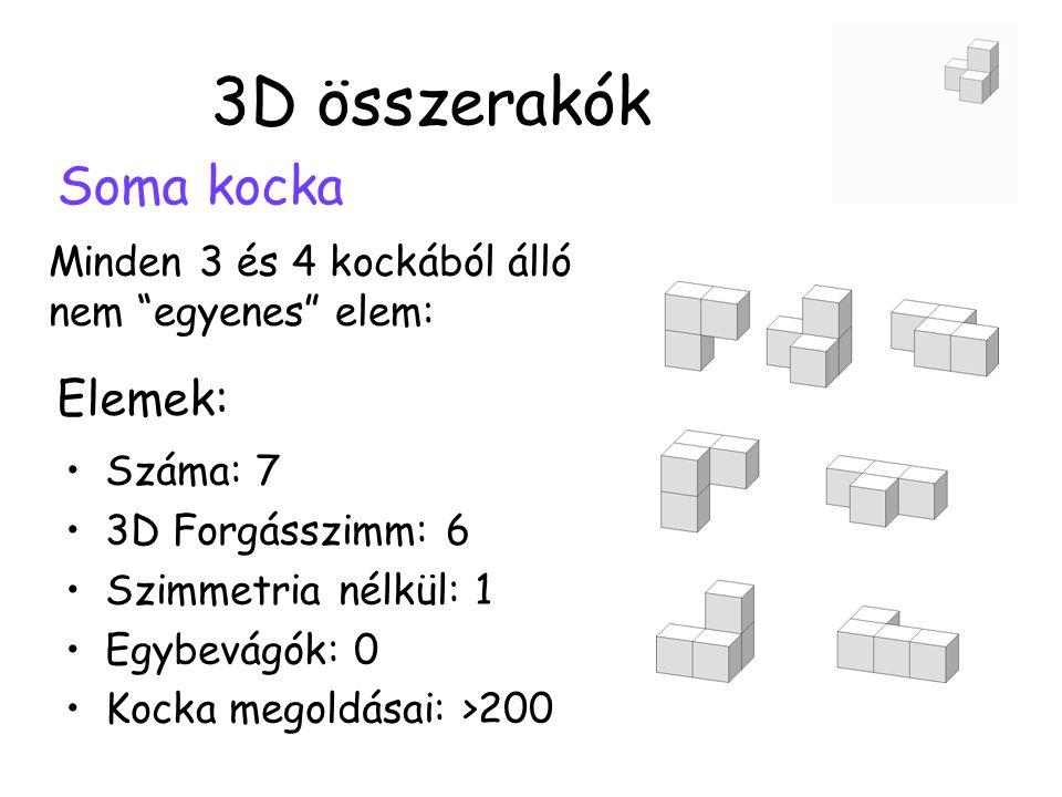 3D összerakók Soma kocka Minden 3 és 4 kockából álló nem egyenes elem: •Száma: 7 •3D Forgásszimm: 6 •Szimmetria nélkül: 1 •Egybevágók: 0 •Kocka megoldásai: >200 Elemek: