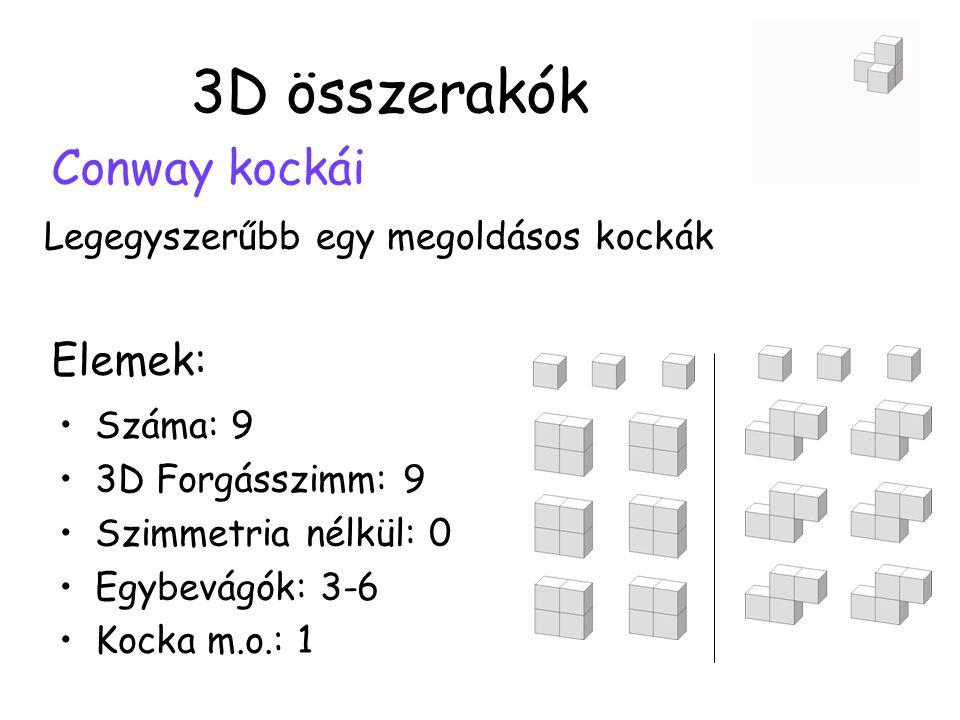 3D összerakók Conway kockái Legegyszerűbb egy megoldásos kockák •Száma: 9 •3D Forgásszimm: 9 •Szimmetria nélkül: 0 •Egybevágók: 3-6 •Kocka m.o.: 1 Elemek: