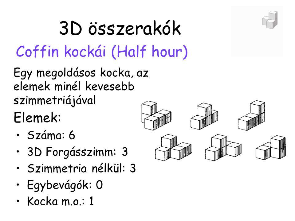 3D összerakók Coffin kockái (Half hour) Egy megoldásos kocka, az elemek minél kevesebb szimmetriájával •Száma: 6 •3D Forgásszimm: 3 •Szimmetria nélkül: 3 •Egybevágók: 0 •Kocka m.o.: 1 Elemek: