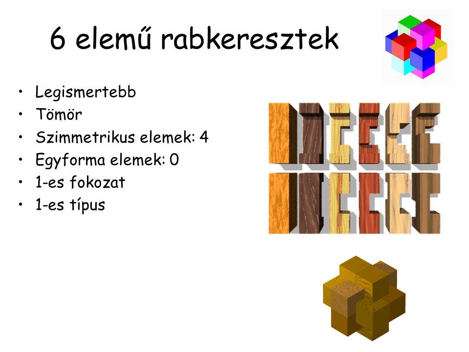 6 elemű rabkeresztek •Legismertebb •Tömör •Szimmetrikus elemek: 4 •Egyforma elemek: 0 •1-es fokozat •1-es típus