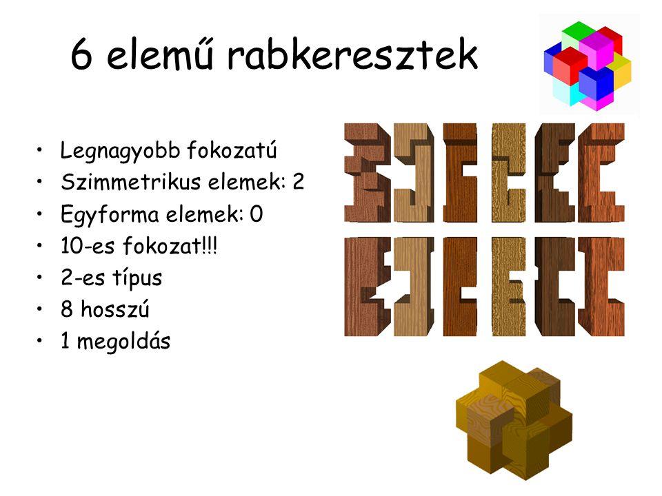 6 elemű rabkeresztek •Legnagyobb fokozatú •Szimmetrikus elemek: 2 •Egyforma elemek: 0 •10-es fokozat!!.