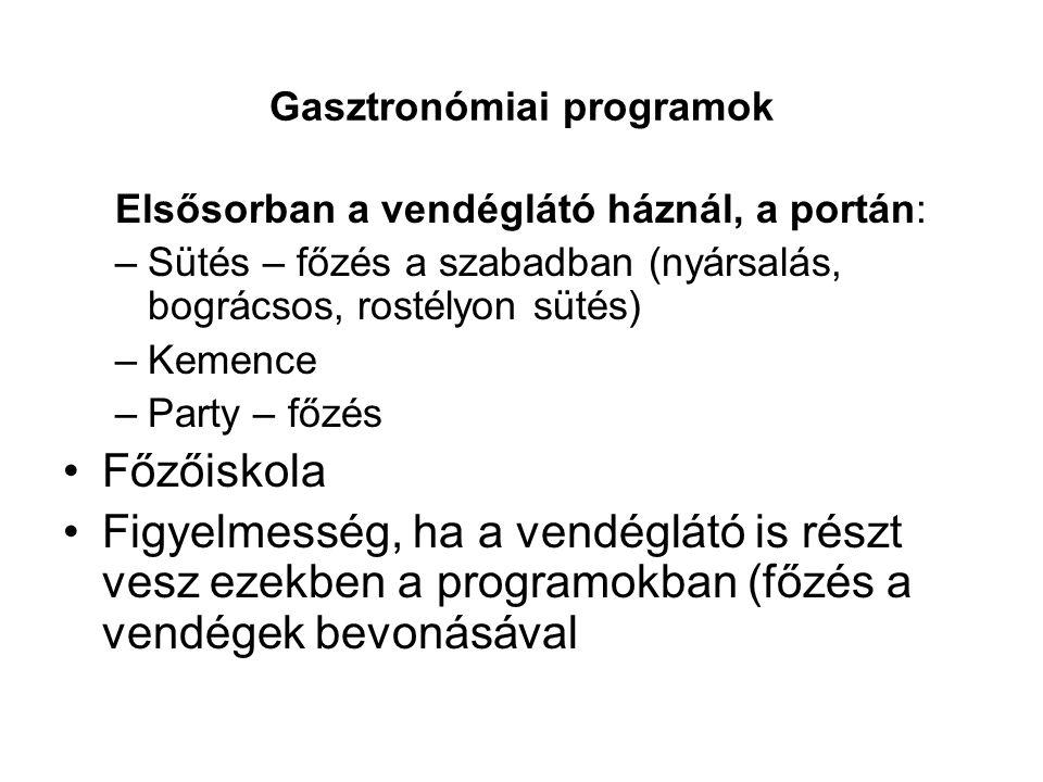 Gasztronómiai programok Elsősorban a vendéglátó háznál, a portán: –Sütés – főzés a szabadban (nyársalás, bográcsos, rostélyon sütés) –Kemence –Party –