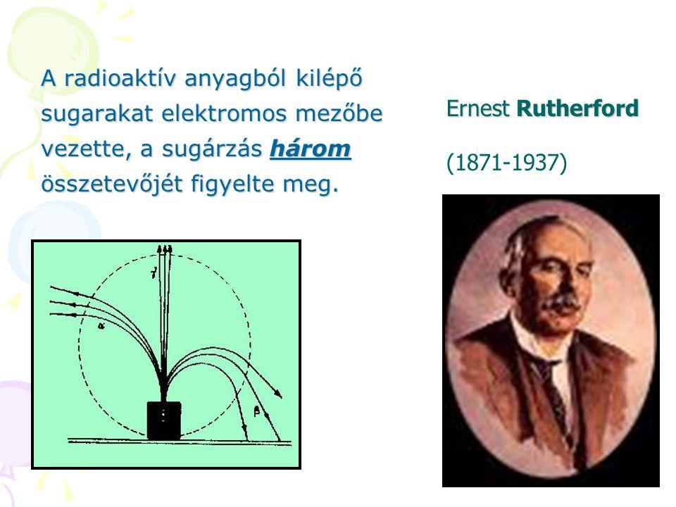 A radioaktív anyagból kilépő sugarakat elektromos mezőbe vezette, a sugárzás három összetevőjét figyelte meg. Ernest Rutherford (1871-1937)