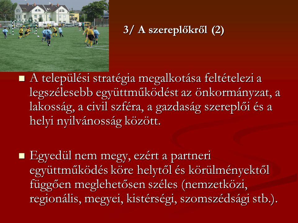 3/ A szereplőkről (2)  A települési stratégia megalkotása feltételezi a legszélesebb együttműködést az önkormányzat, a lakosság, a civil szféra, a ga