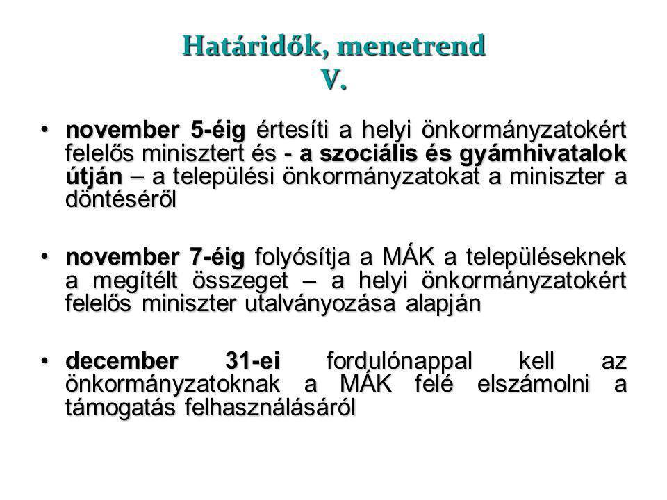 Határidők, menetrend V. •november 5-éig értesíti a helyi önkormányzatokért felelős minisztert és - a szociális és gyámhivatalok útján – a települési ö
