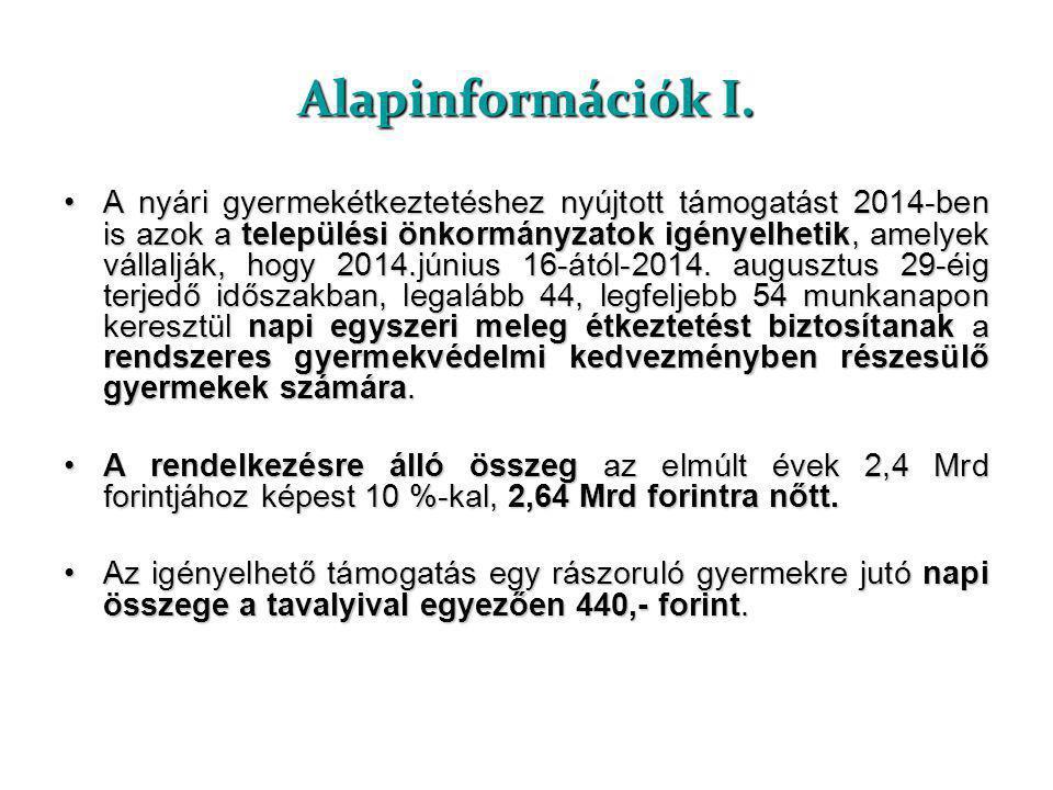 Alapinformációk I. •A nyári gyermekétkeztetéshez nyújtott támogatást 2014-ben is azok a települési önkormányzatok igényelhetik, amelyek vállalják, hog