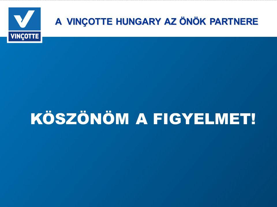 A VINÇOTTE HUNGARY AZ ÖNÖK PARTNERE A VINÇOTTE HUNGARY AZ ÖNÖK PARTNERE KÖSZÖNÖM A FIGYELMET!