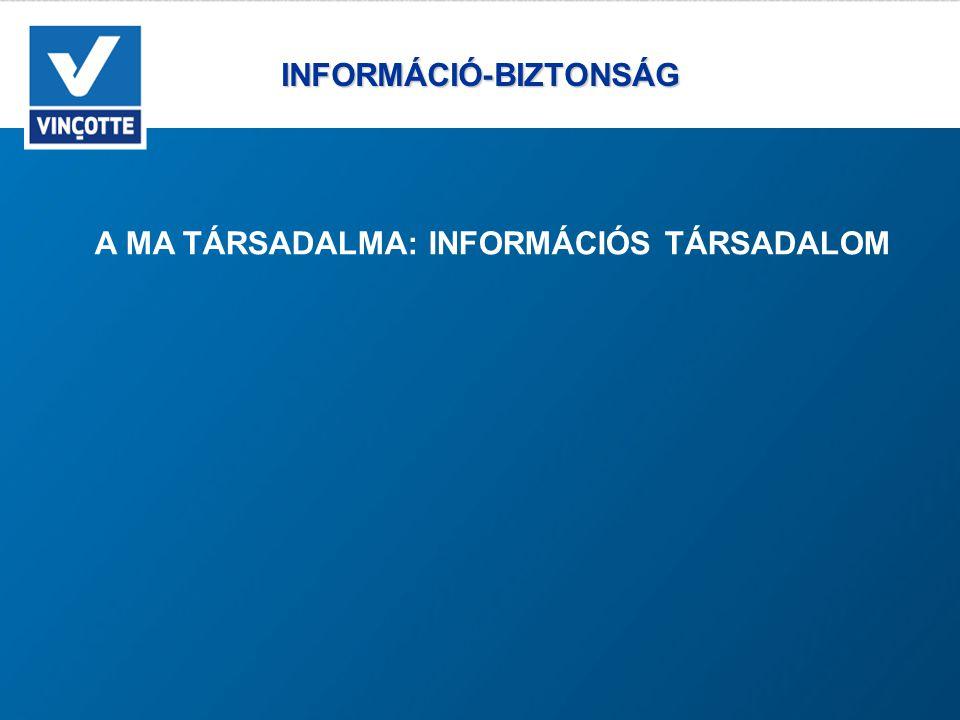 INFORMÁCIÓ-BIZTONSÁG INFORMÁCIÓ-BIZTONSÁG A MA TÁRSADALMA: INFORMÁCIÓS TÁRSADALOM