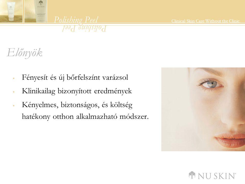 Polishing Peel Clinical Skin Care Without the Clinic. Polishing Peel Előnyök  Fényesít és új bőrfelszínt varázsol  Klinikailag bizonyított eredménye