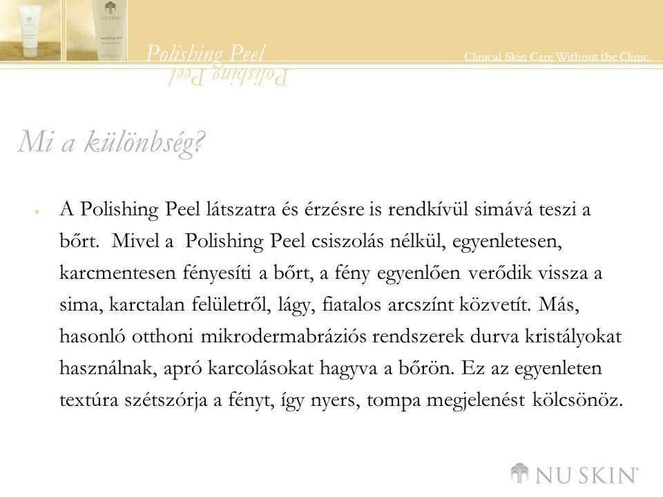 Polishing Peel Clinical Skin Care Without the Clinic. Polishing Peel Mi a különbség?  A Polishing Peel látszatra és érzésre is rendkívül simává teszi