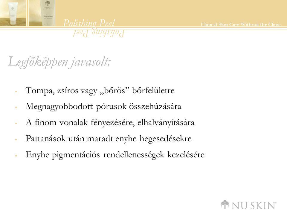 """Polishing Peel Clinical Skin Care Without the Clinic. Polishing Peel Legfőképpen javasolt:  Tompa, zsíros vagy """"bőrös"""" bőrfelületre  Megnagyobbodott"""