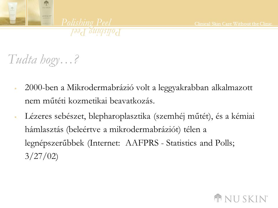 Polishing Peel Clinical Skin Care Without the Clinic. Polishing Peel Tudta hogy…?  2000-ben a Mikrodermabrázió volt a leggyakrabban alkalmazott nem m