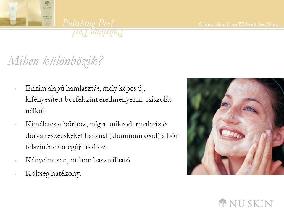 Polishing Peel Clinical Skin Care Without the Clinic. Polishing Peel Miben különbözik?  Enzim alapú hámlasztás, mely képes új, kifényesített bőrfelsz