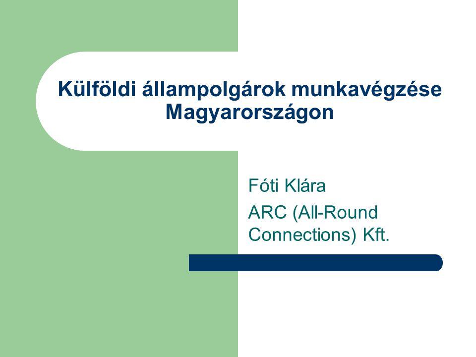 Külföldi állampolgárok munkavégzése Magyarországon Fóti Klára ARC (All-Round Connections) Kft.