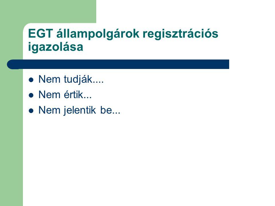 EGT állampolgárok regisztrációs igazolása  Nem tudják....  Nem értik...  Nem jelentik be...