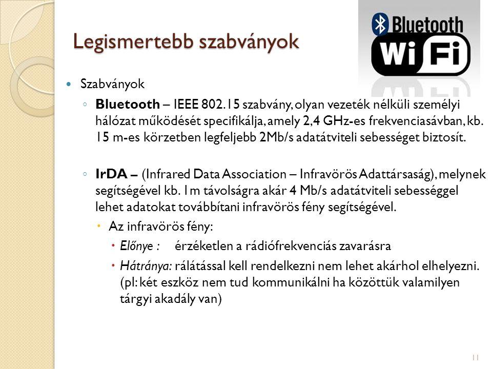 Legismertebb szabványok  Szabványok ◦ Bluetooth – IEEE 802.15 szabvány, olyan vezeték nélküli személyi hálózat működését specifikálja, amely 2,4 GHz-