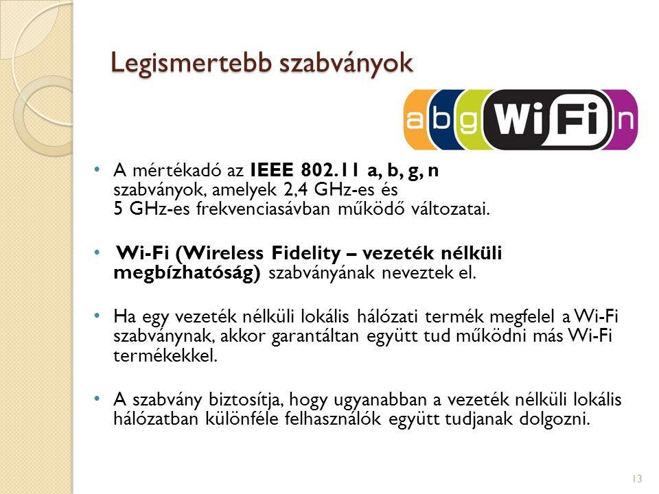 Legismertebb szabványok • A mértékadó az IEEE 802.11 a, b, g, n szabványok, amelyek 2,4 GHz-es és 5 GHz-es frekvenciasávban működő változatai. • Wi-Fi