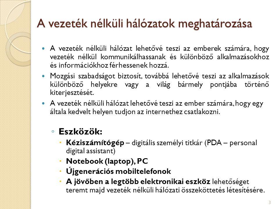 Hétköznapi alkalmazások  Kommunikáció  Hangátvitel vezeték nélkül (cordless telefonok, GSM)  Készletgazdálkodás  Egészségügy  Oktatás  Közüzemek  Helyszíni értékesítés  Nyilvános hálózatok (hotspot)  Helymeghatározó rendszerek 14