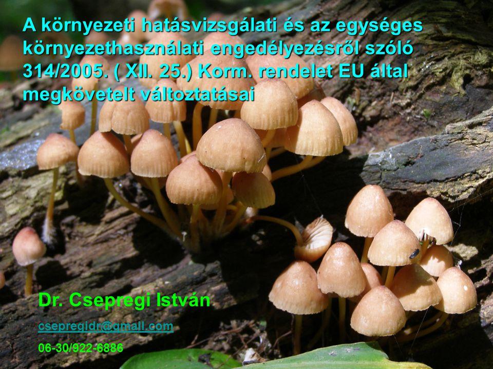 A környezeti hatásvizsgálati és az egységes környezethasználati engedélyezésről szóló 314/2005. ( XII. 25.) Korm. rendelet EU által megkövetelt változ