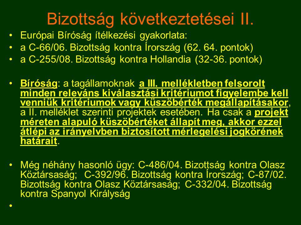 Bizottság következtetései III.