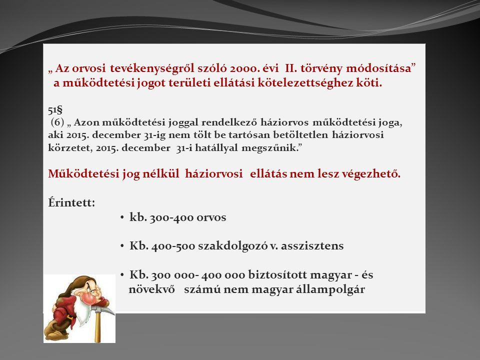 """"""" Az orvosi tevékenységről szóló 2000. évi II. törvény módosítása"""" a működtetési jogot területi ellátási kötelezettséghez köti. 51§ (6) """" Azon működte"""