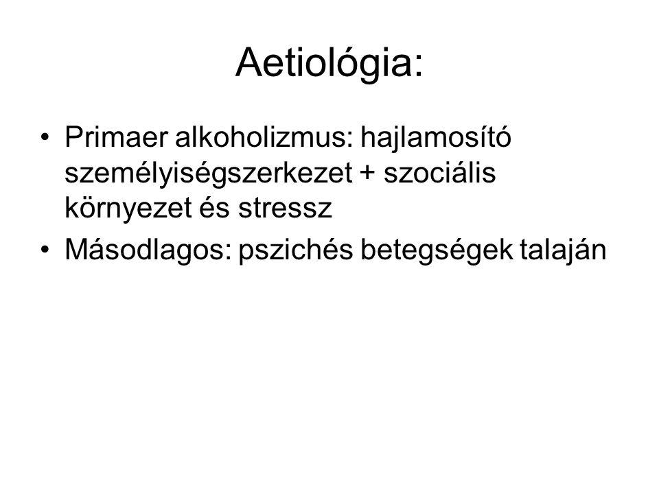 Aetiológia: •Primaer alkoholizmus: hajlamosító személyiségszerkezet + szociális környezet és stressz •Másodlagos: pszichés betegségek talaján