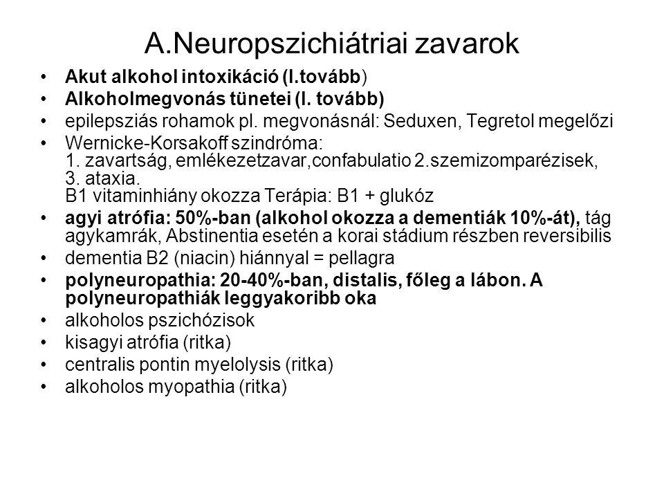 A.Neuropszichiátriai zavarok •Akut alkohol intoxikáció (l.tovább) •Alkoholmegvonás tünetei (l. tovább) •epilepsziás rohamok pl. megvonásnál: Seduxen,