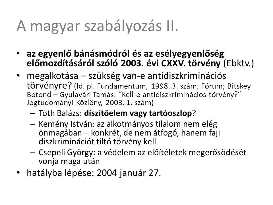 A magyar szabályozás II. • az egyenlő bánásmódról és az esélyegyenlőség előmozdításáról szóló 2003. évi CXXV. törvény (Ebktv.) • megalkotása – szükség