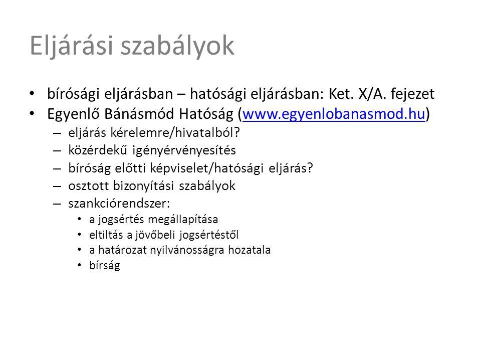 Eljárási szabályok • bírósági eljárásban – hatósági eljárásban: Ket. X/A. fejezet • Egyenlő Bánásmód Hatóság (www.egyenlobanasmod.hu)www.egyenlobanasm