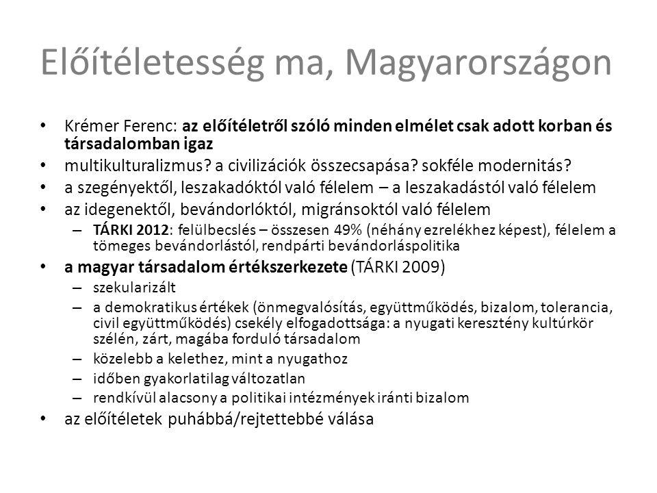 Előítéletesség ma, Magyarországon • Krémer Ferenc: az előítéletről szóló minden elmélet csak adott korban és társadalomban igaz • multikulturalizmus?