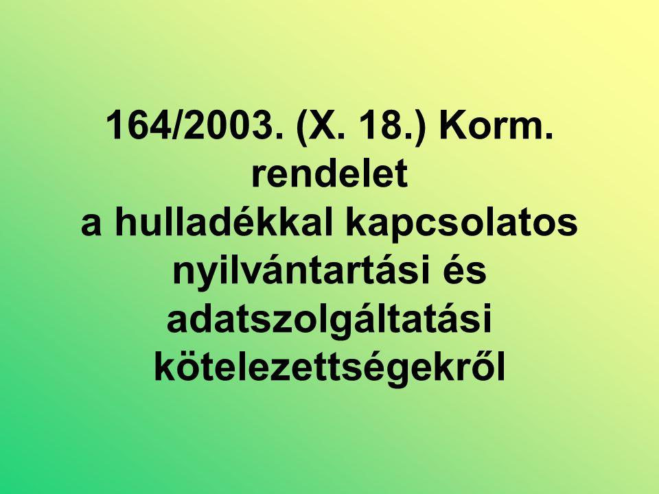 164/2003. (X. 18.) Korm.