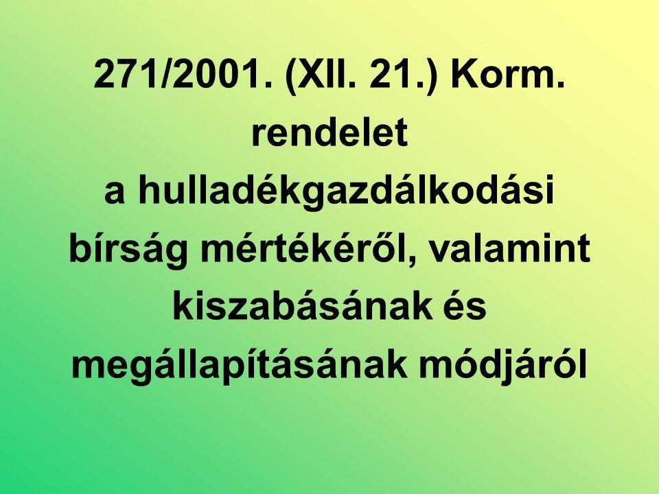 271/2001. (XII. 21.) Korm.