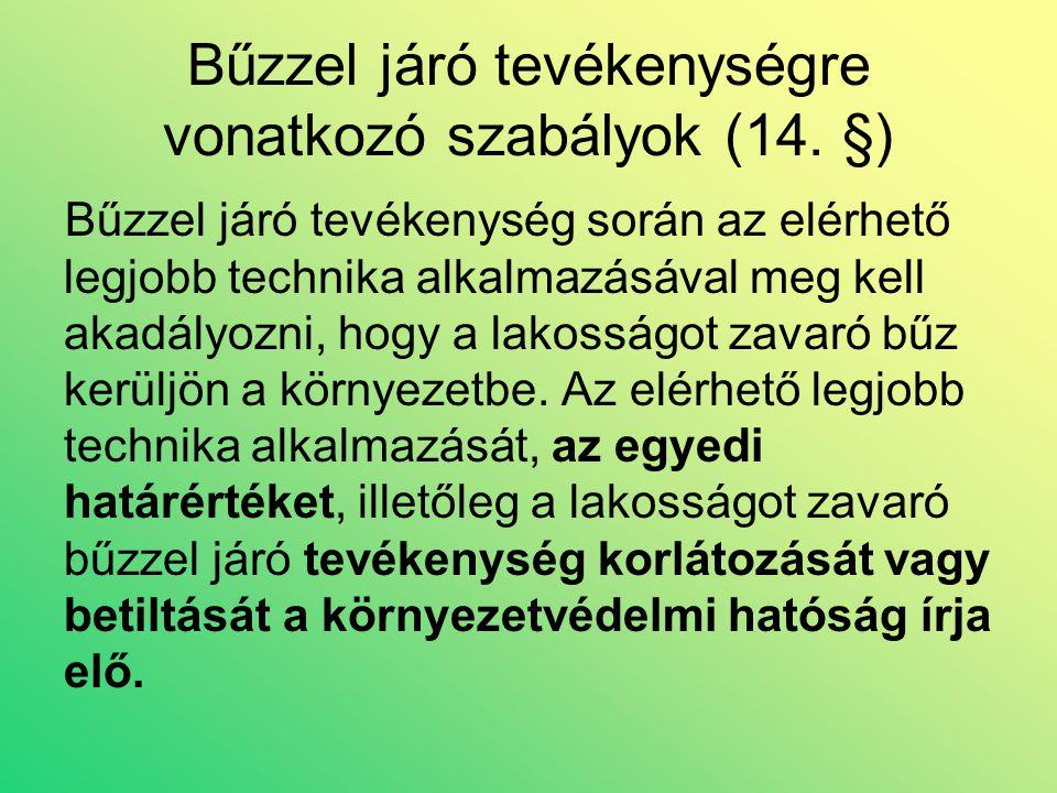 Bűzzel járó tevékenységre vonatkozó szabályok (14.