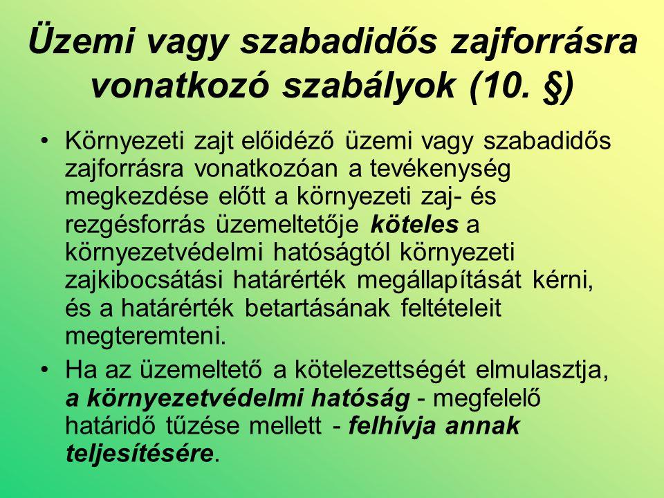Üzemi vagy szabadidős zajforrásra vonatkozó szabályok (10.